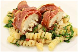 Hähnchenbrust in Parmaschinken mit Pasta